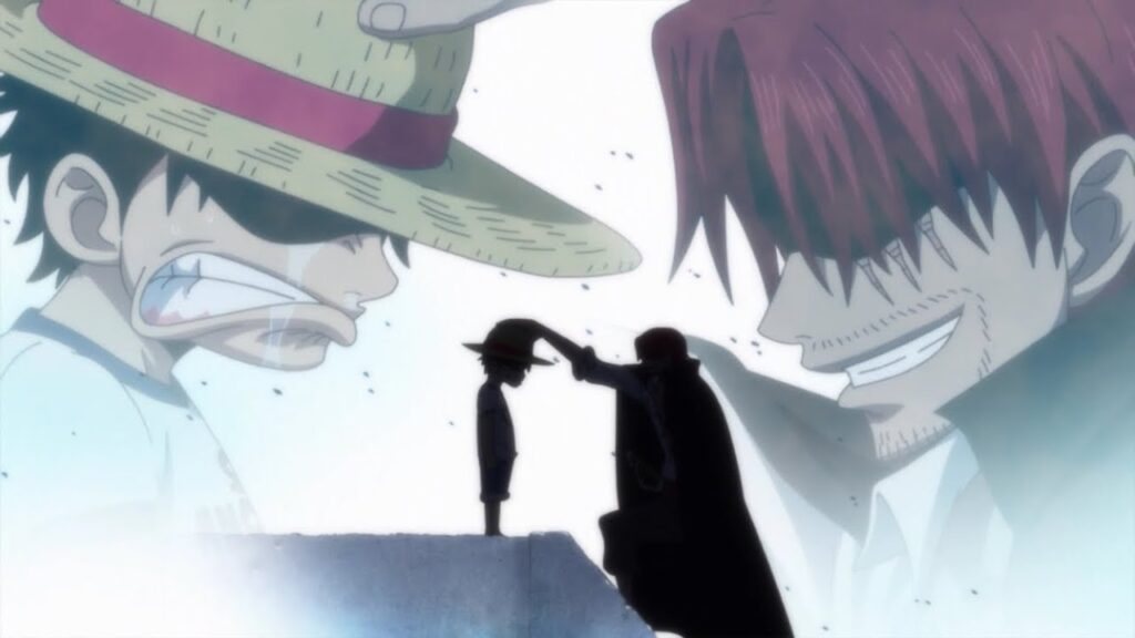 A picture of Shanks giving his hat to Luffy to better elaborate Shanks And Luffy
