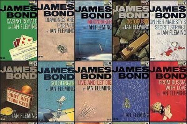A picture of James Bond books by Ian Fleming